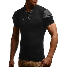 Load image into Gallery viewer, V-Neck Patchwork Leather T-Shirt
