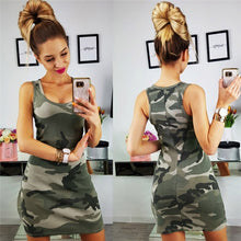 Load image into Gallery viewer, Sleeveless O-Neck Camouflage Print Mini Dress Female Summer Slim Dress