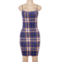 Load image into Gallery viewer, Spaghetti Strap Grid Party Short Dress