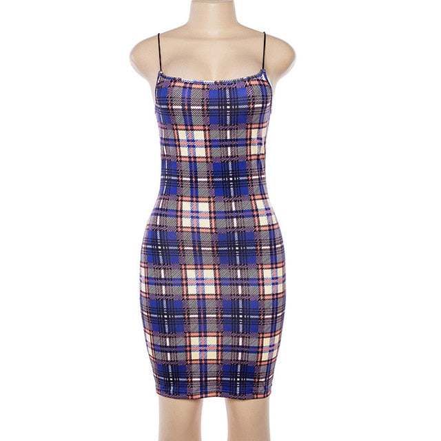 Spaghetti Strap Grid Party Short Dress