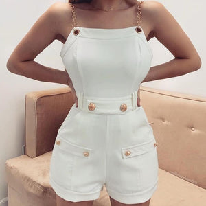 Casual Mini Playsuits High Waist Button Ladies Overall Streetwear