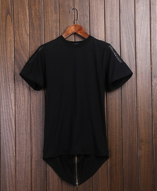 Over Size zipper Tee Extended T-shirt