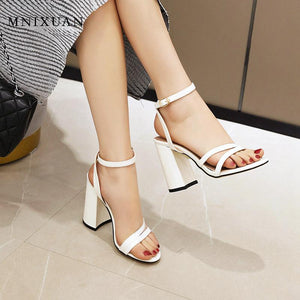 MNIXUAN Sexy super high heels women gladiator sandals shoes plus size 47 48 new 2020 open toe ankle strap block heel party shoes