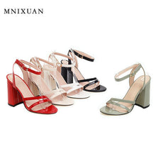 Load image into Gallery viewer, MNIXUAN Sexy super high heels women gladiator sandals shoes plus size 47 48 new 2020 open toe ankle strap block heel party shoes