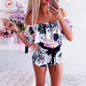 One Neck Off Shoulder Short Sleeve Print Summer Slim Jumpsuits
