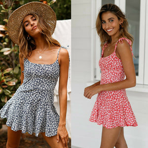Vintage Boho Bohemian Dresses Beach Short Dress