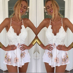 Sleeveless Women Beach Style Lace Up Floral Playsuit Jumpsuit