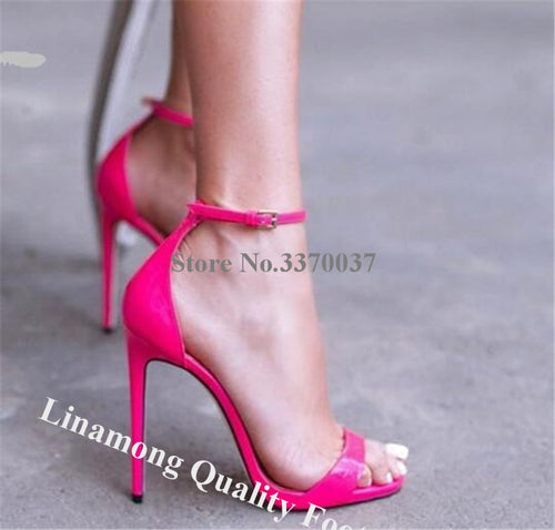 Rose Pink Patent Leather Thin High Heel Sandals Wedding Dress Shoes