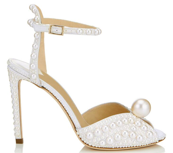 100mm Pearl Embellished Pumps Ankle Strap Peep-toe Sandal Wedding Shoes