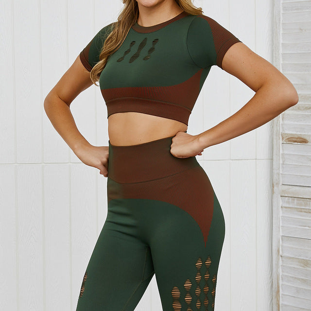 Knitted Seamless 2 Piece Set Sports Fitness Women Sets Short Sleeve Tops Gymwear Hole Breathable High Waist Leggings Athletic