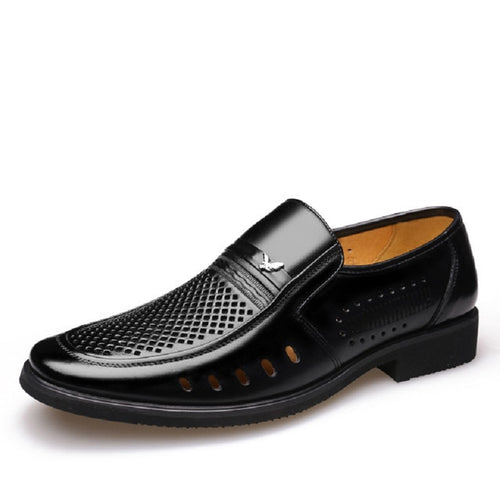 Leather Hollow Out Breathable Business Man Shoes Round Toe Slip-on Male Footwear