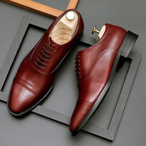 Genuine Leather Oxfords Shoes Laces Leather Flats Shoes