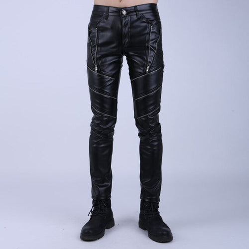 Faux Leather Tight Biker Pants With Zippers