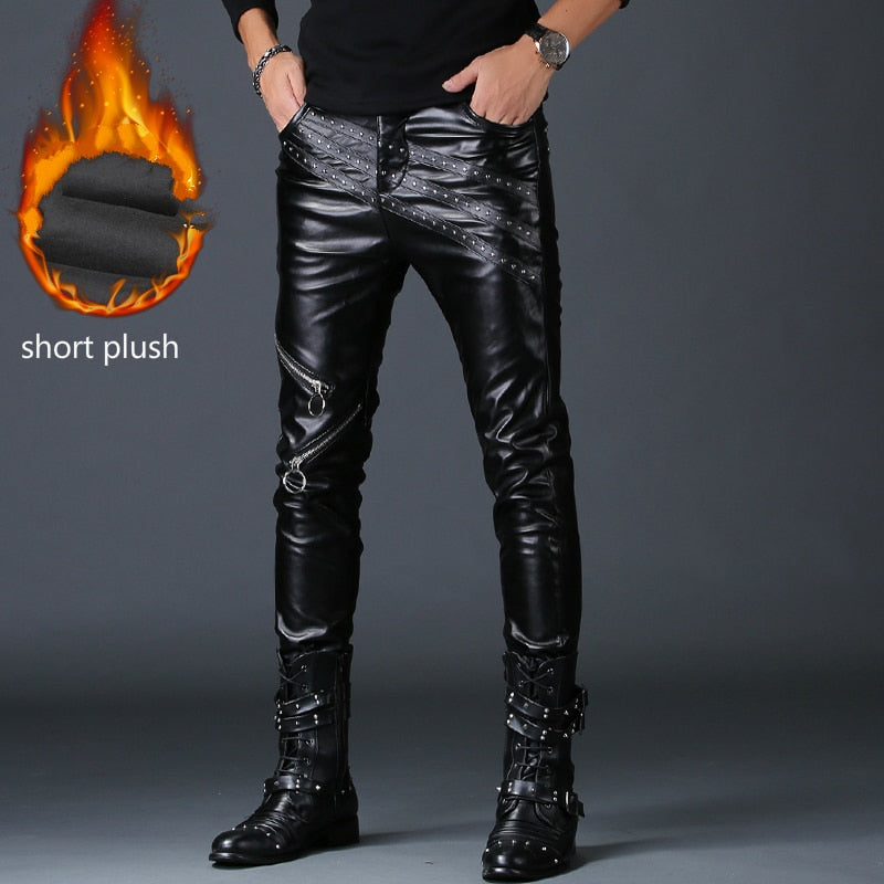 Faux Leather Pants  Fake Zippers Motorcycle Skinny Trouser