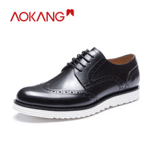 Load image into Gallery viewer, AOKANG  New Arrival men shoes leather genuine shoes man high quality brogue shoes comfortable dress shoes