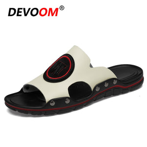 Mens Slippers Indoor Summer Beach Sandals Men Mens Slides Leather Slippers Large Size