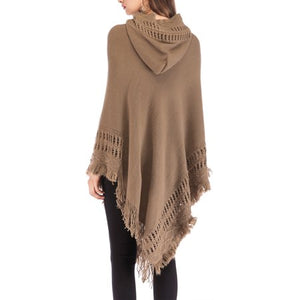 SAYFUT Fashion Knit Tassel Fringed Pullover Poncho Sweater Cape Shawl Wrap for Women