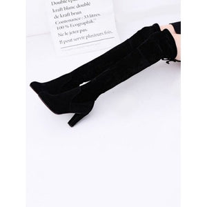 Womens Ladies Thigh High Boots Over The Knee Party Stretch Block High Heel