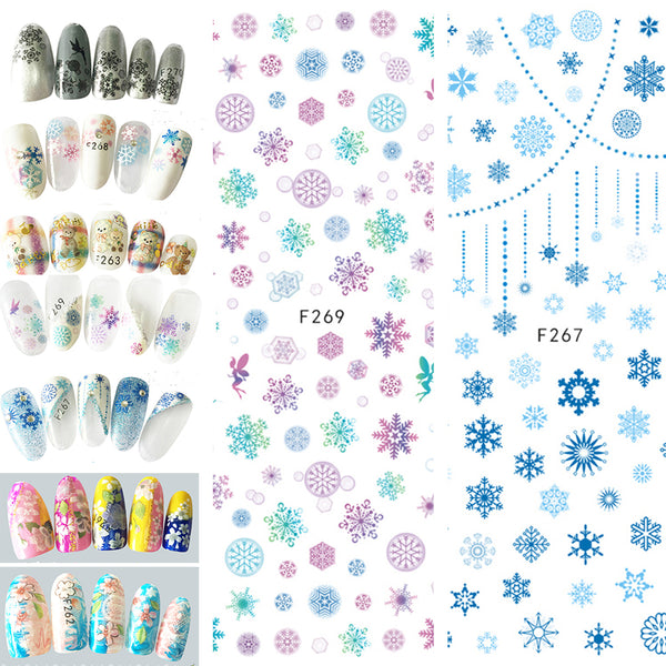 1 Sheet Snowflake Flower Decals Nail Art Stickers Tips DIY Manicure Decoration - Abelestore