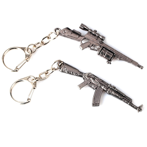 Anime Funs Game Playerunknown's Battlegrounds Keyring CSGO PUBG Weapon Model Key holder SMG AK-47 Pendant Keychain Charm Gift