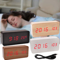 Modern Wooden Wood USB/AAA Digital LED Desk Alarm Clock Calendar Thermometer