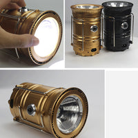 Portable Solar Rechargeable LED Flashlight Camping Tent Light Torch Lantern Lamp