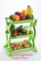 Multifunctional Three Layers Kitchen Storage Rack Shelf of Plastic and Stainless Steel Stainless Steel Kitchen Rack, Fruit and Vegetable Rack