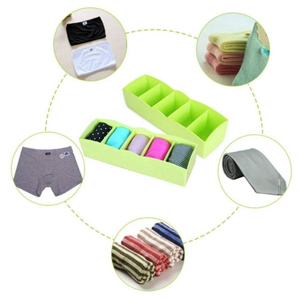 Plastic 5 Grid Cosmetic Makeup Jewelry Socks Storage Organiser (Multi) - (Pack of 1)