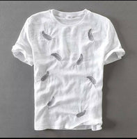 Men's White Cotton Printed Round Neck Tees - Abelestore