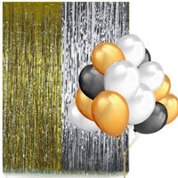 Party Decoration Set For Birthday, Anniversary - 2 Curtain Black, White Golden Balloon (Multi) - 45 PCs - Abelestore