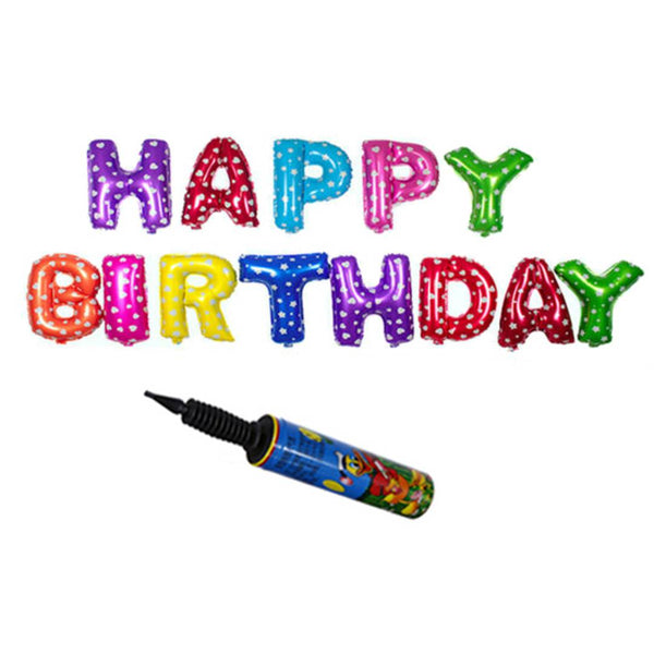HAPPY BIRTHDAY Letters Foil Toy Balloon -Hanging Foil Birthday Balloon (with Air Pump)