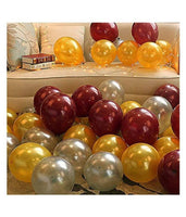 50pcs Abel Metallic Finish Balloons for Birthday Party Decoration (Golden, Silver & Brown) - Abelestore