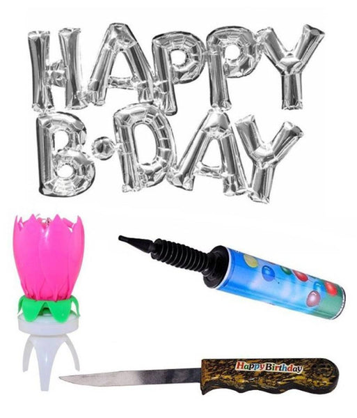 Set Of Happy B.Day Letter/Alphabets Silver Color Balloons for Birthday Party With Revolving Lotus Flower Cake Candle/Knife