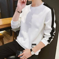Men's White cotton blend Self Pattern Round Neck Tees