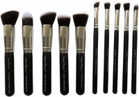 Synthetic Makeup Brush Set Of 10 (Black)