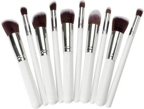Synthetic Makeup Brush Set Of 10 (White)