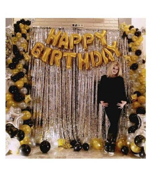 Abel Happy Birthday Golden Foil+ 2 Pcs Silver Fringe Curtain(3 X 6 Feet)+30 pcs Metallic Balloons (Black,Gold,Silver)