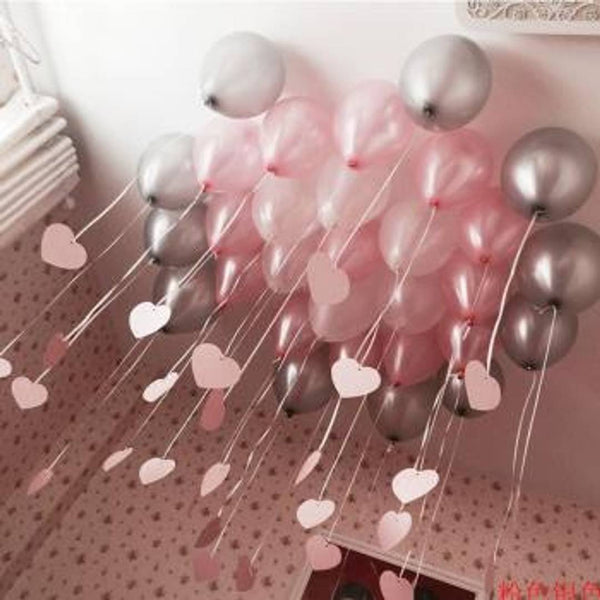 50 Pcs. Metallic Balloons (Pink, Silver) for Birthday Party, Festival Celebrations, Diwali Decoration