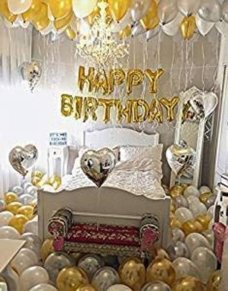 Happy Birthday Letter Foil Balloon Set with 30 Metallic Balloons (Golden) for Birthday Celebration/Birthday Decoration/Birthday Party - Abelestore