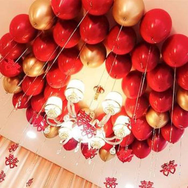 50 Pcs. Metallic Balloons (Red, Golden) for Birthday Party, Festival Celebrations, Diwali Decoration