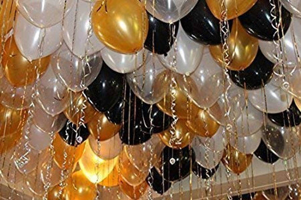 Abel Birthday Combo for Birthday Decoration/Party Gold Black and White Balloon (Pack of 50)