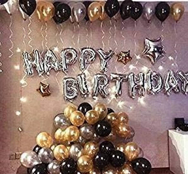 Happy Birthday Letter Foil Balloon Set of (Silver)+HD Metallic Balloons (Black, Gold and Silver) Pack of 50