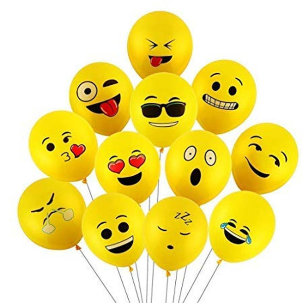 Abel Balloons Printed Emoji Smiley Face Expression Balloon (Yellow-Emoji-Pack of 10)