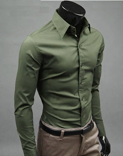 Men's Olive Cotton Solid Long Sleeves Regular Fit Formal Shirt - Abelestore