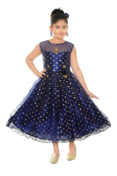Cutie Pie Kids Girls Festive/Party Wear Western Designer Maxi Dress - Abelestore