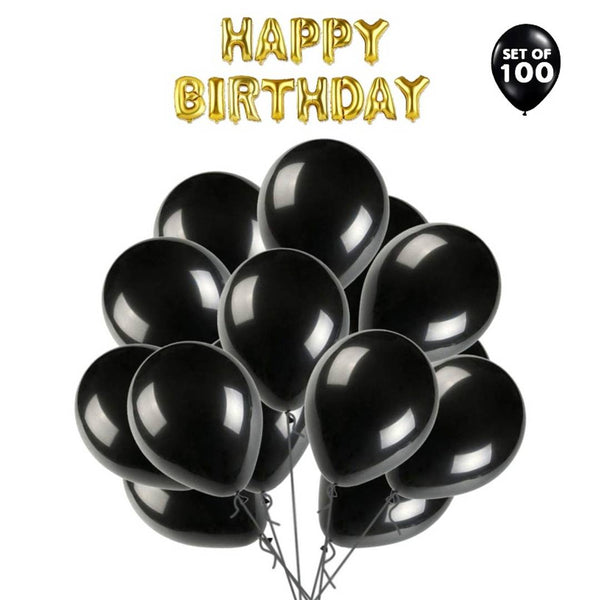 Solid Happy Birthday Letter Foil Balloon Set of Golden + Pack of 100 HD Metallic Balloons - Abelestore