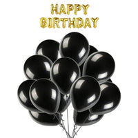 Solid Happy Birthday Letter Foil Balloon Set of Golden + Pack of 100 HD Metallic Balloons