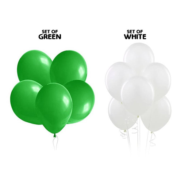 NHR Solid Happy Birthday Decoration Balloons 50 Green & 50 White Balloon (Pack of 100)