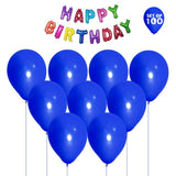 NHR Solid Happy Birthday Multicolor Letters Foil Balloon + Pack of 100 Blue Balloons with Pump