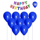NHR Solid Happy Birthday Multicolor Letters Foil Balloon + Pack of 100 Blue Balloons